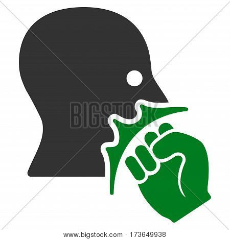 Face Violence Strike vector icon. Flat bicolor green and gray symbol. Pictogram is isolated on a white background. Designed for web and software interfaces.
