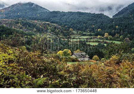 Very beautiful autumn into the Pyrenees mountains in Spain