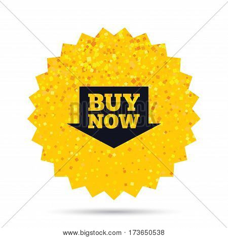 Gold glitter web button. Buy now sign icon. Online buying arrow button. Rich glamour star design. Vector