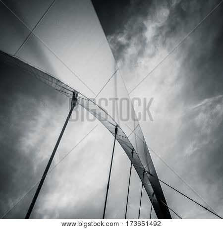 Abstract Architecture Detail Of An Arch Over A Bridge In Black And White