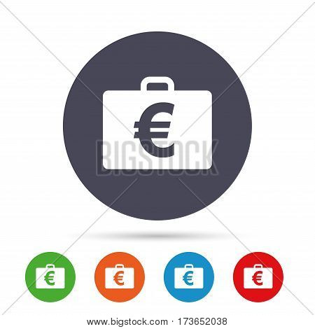 Case with Euro EUR sign icon. Briefcase button. Round colourful buttons with flat icons. Vector