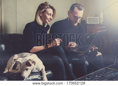 Group of young coworkers making great business decisions.People discussing new project at modern meeting room.Man using laptop, woman smiling, white dog sleeping on sofa. Visual effects, flare