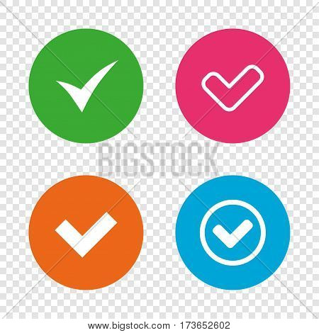 Check icons. Checkbox confirm circle sign symbols. Round buttons on transparent background. Vector