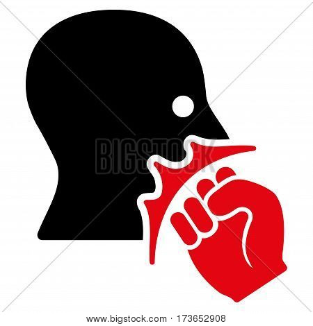 Face Violence Strike vector icon. Flat bicolor intensive red and black symbol. Pictogram is isolated on a white background. Designed for web and software interfaces.