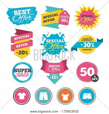 Sale banners, online web shopping. Clothes icons. T-shirt and pants with shorts signs. Swimming trunks symbol. Website badges. Best offer. Vector