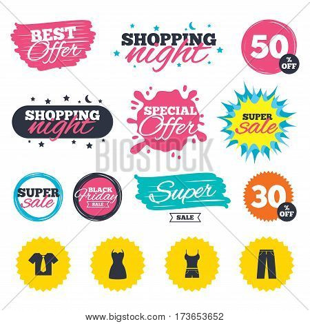 Sale shopping banners. Special offer splash. Clothes icons. T-shirt with business tie and pants signs. Women dress symbol. Web badges and stickers. Best offer. Vector