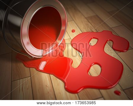 House renovation or construction concept. Can with spilled red paint and dollar signl. Costs of renovation. 3d illustration