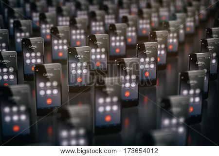 Calling smartphones. Mobile phone  business communication concept. 3d illustration