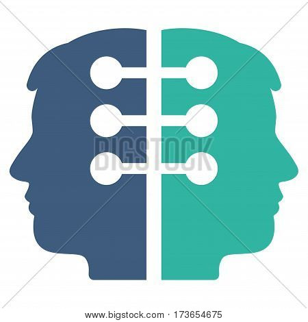 Dual Head Interface vector icon. Flat bicolor cobalt and cyan symbol. Pictogram is isolated on a white background. Designed for web and software interfaces.
