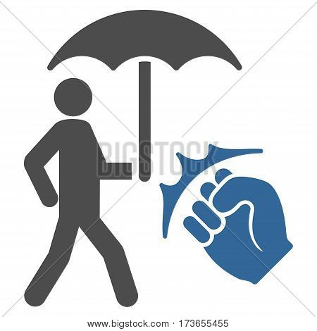 Crime Coverage vector icon. Flat bicolor cobalt and gray symbol. Pictogram is isolated on a white background. Designed for web and software interfaces.