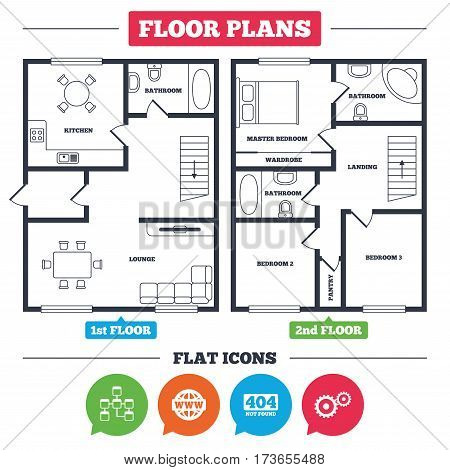 Architecture plan with furniture. House floor plan. Website database icon. Internet globe and gear signs. 404 page not found symbol. Under construction. Kitchen, lounge and bathroom. Vector