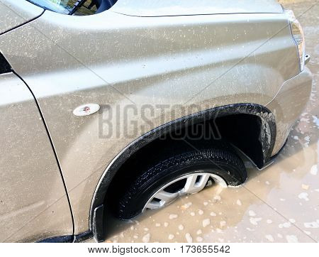 beige car got stuck in a huge pit full of dirty water on a forest road, hole, dirty, messy