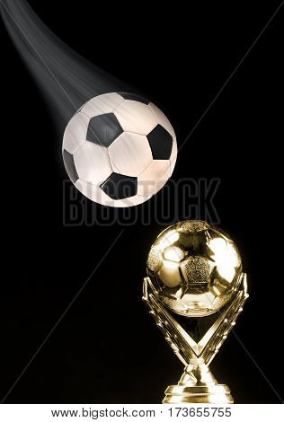 Soccer ball and golden soccer trophy with room for your type.
