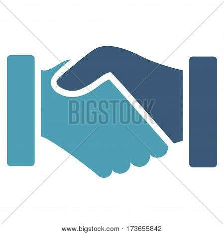 Acquisition Handshake vector icon. Flat bicolor cyan and blue symbol. Pictogram is isolated on a white background. Designed for web and software interfaces.