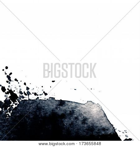 Vector hand drawn watercolor black stain. Gray watercolour background. Spot with droplets smudges stains splashes. Element for your design and decor backgrounds banners flyers.