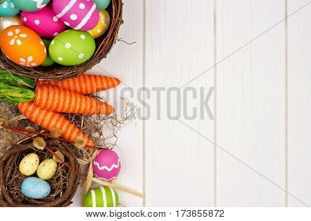 Colorful Easter Or Spring Decor Side Border Over A White Wood Background