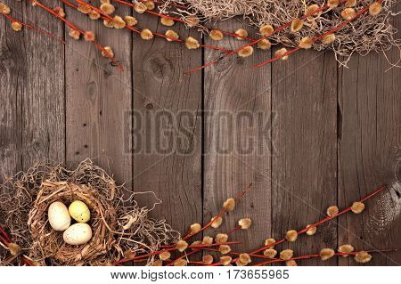 Spring Nest Double Border With Willow Branches Over A Rustic Wooden Background