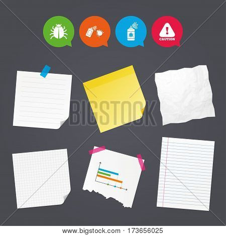 Business paper banners with notes. Bug disinfection icons. Caution attention symbol. Insect fumigation spray sign. Sticky colorful tape. Speech bubbles with icons. Vector