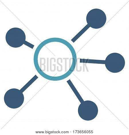 Connections vector icon. Flat bicolor cyan and blue symbol. Pictogram is isolated on a white background. Designed for web and software interfaces.
