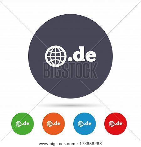Domain DE sign icon. Top-level internet domain symbol with globe. Round colourful buttons with flat icons. Vector