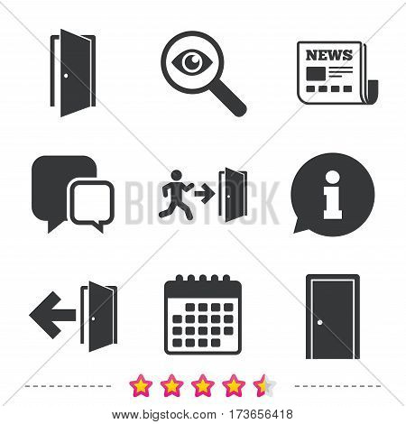 Doors icons. Emergency exit with human figure and arrow symbols. Fire exit signs. Newspaper, information and calendar icons. Investigate magnifier, chat symbol. Vector
