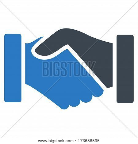 Acquisition Handshake vector icon. Flat bicolor smooth blue symbol. Pictogram is isolated on a white background. Designed for web and software interfaces.
