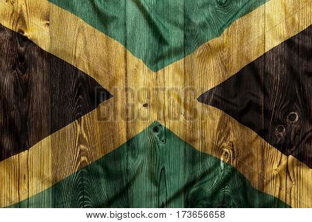 National Flag Of Jamaica, Wooden Background
