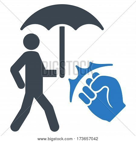 Crime Coverage vector icon. Flat bicolor smooth blue symbol. Pictogram is isolated on a white background. Designed for web and software interfaces.