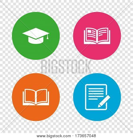 Pencil with document and open book icons. Graduation cap symbol. Higher education learn signs. Round buttons on transparent background. Vector