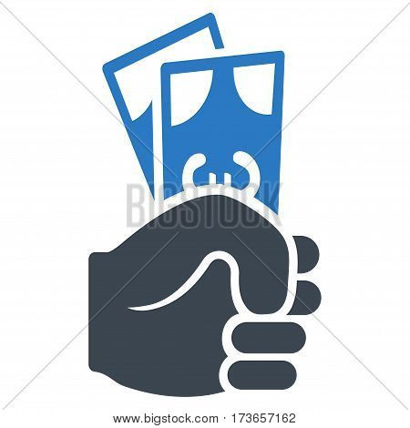 Euro Banknotes Salary vector icon. Flat bicolor smooth blue symbol. Pictogram is isolated on a white background. Designed for web and software interfaces.
