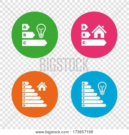 Energy efficiency icons. Lamp bulb and house building sign symbols. Round buttons on transparent background. Vector