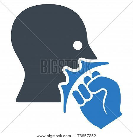 Face Violence Strike vector icon. Flat bicolor smooth blue symbol. Pictogram is isolated on a white background. Designed for web and software interfaces.