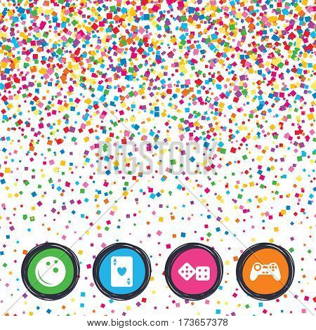 Web buttons on background of confetti. Bowling and Casino icons. Video game joystick and playing card with dice symbols. Entertainment signs. Bright stylish design. Vector