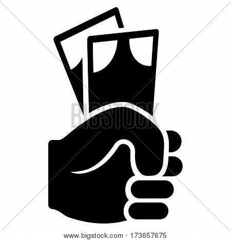 Banknotes Salary Hand vector icon. Flat black symbol. Pictogram is isolated on a white background. Designed for web and software interfaces.