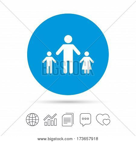 One-parent family with two children sign icon. Father with son and daughter symbol. Copy files, chat speech bubble and chart web icons. Vector