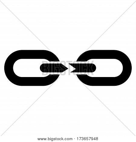 Chain Break vector icon. Flat black symbol. Pictogram is isolated on a white background. Designed for web and software interfaces.