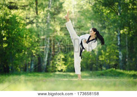 A shot of an woman practicing karate