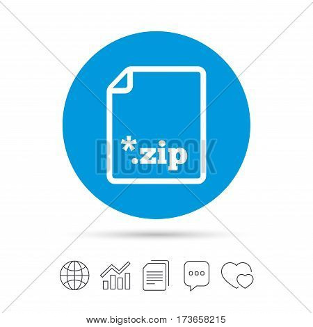 Archive file icon. Download compressed file button. ZIP zipped file extension symbol. Copy files, chat speech bubble and chart web icons. Vector