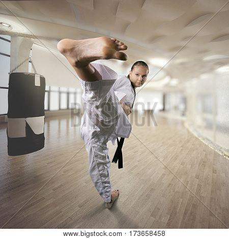 Applying focus and power. Martial arts concept