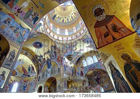 PODGORICA, MONTENEGRO - AUGUST 09, 2016: inside the Cathedral of the Resurrection in Podgorica. Still incomplete at the time of shot in 2016, construction was began in 1993