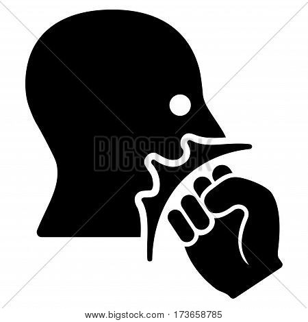 Face Violence Strike vector icon. Flat black symbol. Pictogram is isolated on a white background. Designed for web and software interfaces.