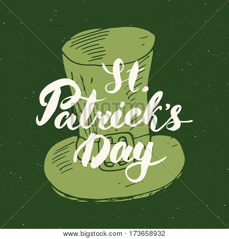 Happy St Patrick's Day Vintage greeting card Hand lettering on leprechaun hat silhouette Irish holiday grunge textured retro design vector illustration.