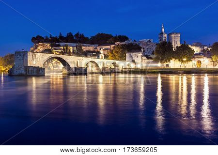 Avignon Bridge and Popes Palace, Avignon, night view.  Pont Saint-Benezet, Provence, France.