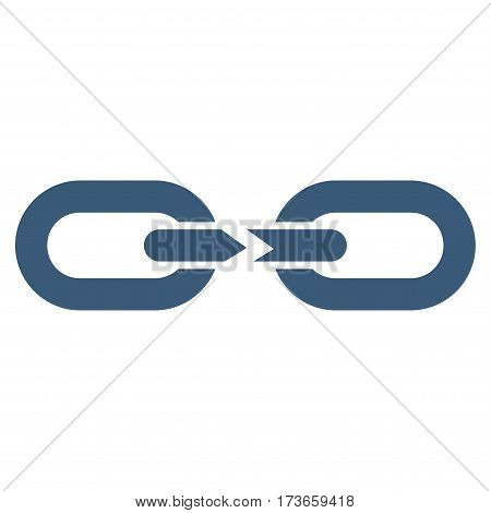 Chain Break vector icon. Flat blue symbol. Pictogram is isolated on a white background. Designed for web and software interfaces.