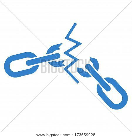 Broken Chain vector icon. Flat cobalt symbol. Pictogram is isolated on a white background. Designed for web and software interfaces.