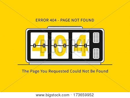 Error 404 page with alarm clock vector illustration. Broken web page graphic design. Alarm clock show 404 numbers. Error 404 page not found creative template.