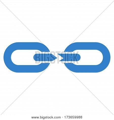 Chain Break vector icon. Flat cobalt symbol. Pictogram is isolated on a white background. Designed for web and software interfaces.
