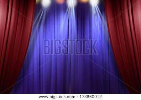 theater stage red curtains opening for a live performance background
