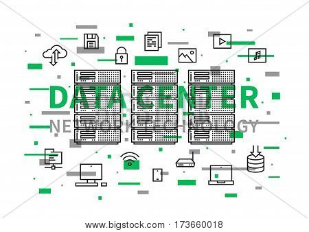 Data center network technology vector illustration. Internet server equipment line art creative concept. Hosting cloud datacenter hardware graphic design. Network database infrastructure system. poster