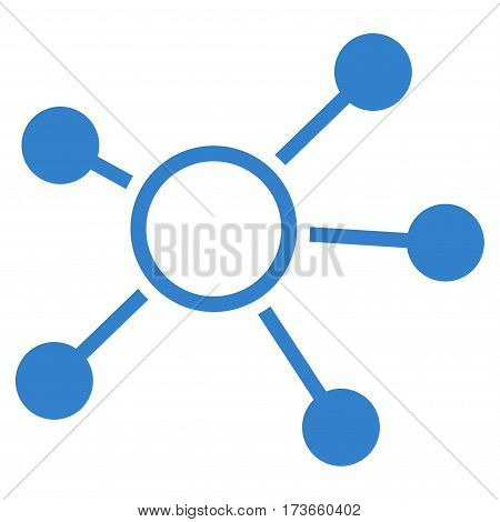 Connections vector icon. Flat cobalt symbol. Pictogram is isolated on a white background. Designed for web and software interfaces.